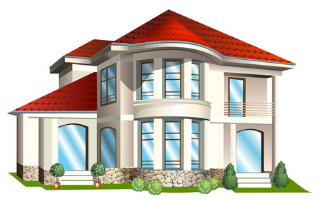 homes exterior: Vector Illustration of а house  with tile roof on a white background
