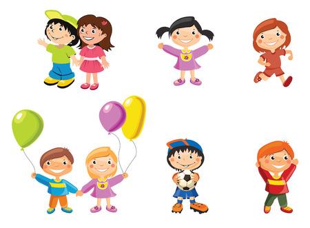 personas corriendo: ilustración vectorial, los niños y niñas, el concepto de dibujos animados, fondo blanco.