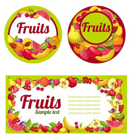 multivitamin: Fruits labels set for design, vector Illustration