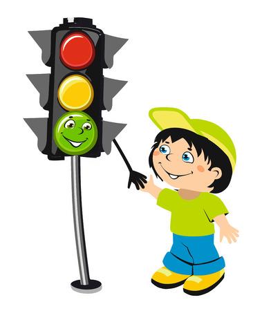 road safety: Cute cartoon boy and traffic light Illustration