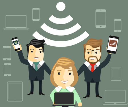 hotspot: Public free Wi-Fi hotspot zone wireless connection flat web banner template