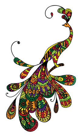 anti: Zentangle Peacock. Illustration in doodle style