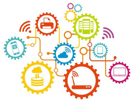 dsl: Flat design concept for wifi network