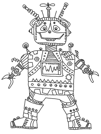 funny robot: Funny robot  in doodle style