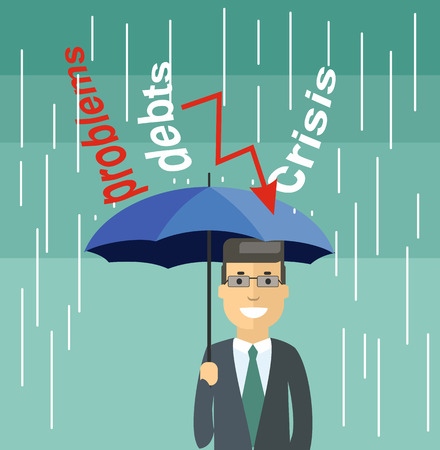 escaping: Cartoon Businessman with Umbrella Standing Under the Rain.  Escaping from the problems in the crisis