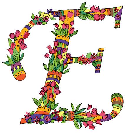 art flower: Decorative letter for design