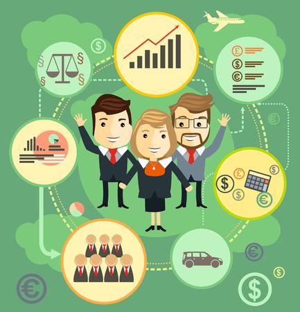 business team: Business team. Cartoon characters.