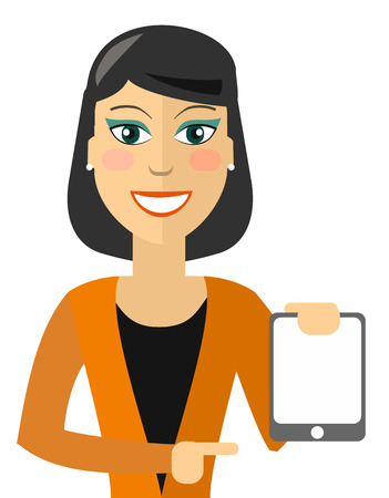 woman tablet: Pointing Business Woman with tablet