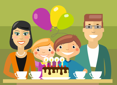 selebration: Flat Vector Illustration: traditional family selebration, tea party with birthday cake