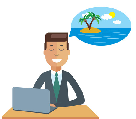 worker man: Cartoon businessman thinking about vacation Illustration