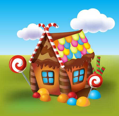 casita de dulces: Ilustración de dulces de casa de galletas y dulces sobre un fondo de prados y caramelos en crecimiento. Vectores