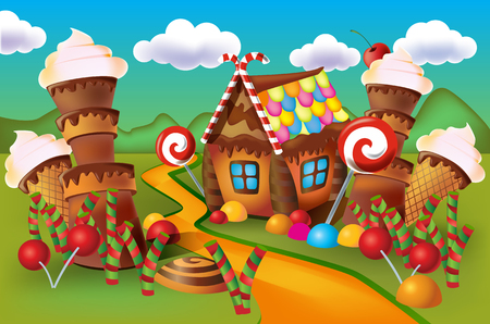 Illustration of sweet house of cookies and candy on a background of meadows and growing caramels. Çizim
