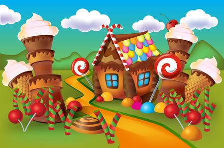 Ilustración de dulces de casa de galletas y dulces sobre un fondo de prados y caramelos en crecimiento.