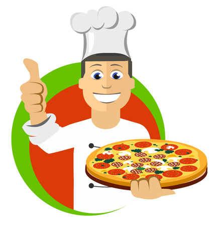 chefs cooking: Cartoon chefs cooking, holding tray with pizza Illustration