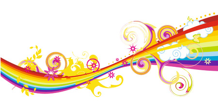 flowing: Flowing rainbow design with flowers