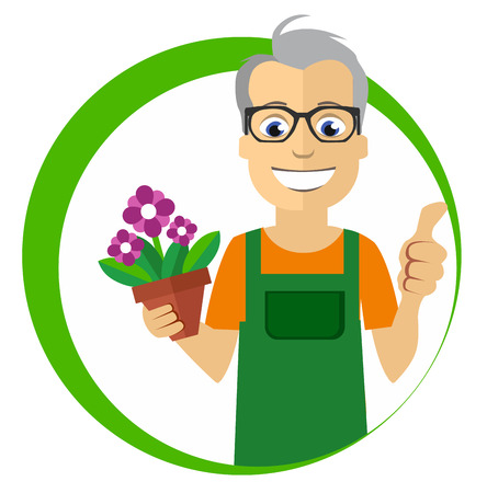 tulips in green grass: Flat Florist holding the pot with flowers Illustration