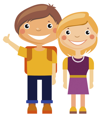 young girl: illustration - cartoon young boy and girl
