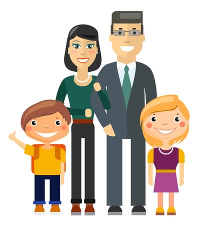 caricatura: Joven familia - padre, madre, hijo e hija. Ilustración plana