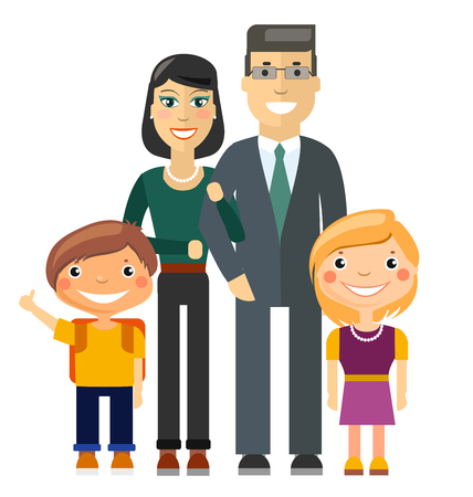 young family: Young Family - Father, Mother, Son and Daughter. Flat Illustration Illustration