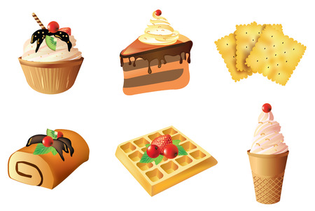 wafer: Set of dessert objects isolated on white background - cakes, crackers, roll, wafer, ice cream