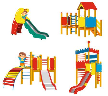 playground: Set of Playgrounds for children. Vector Illustration Illustration