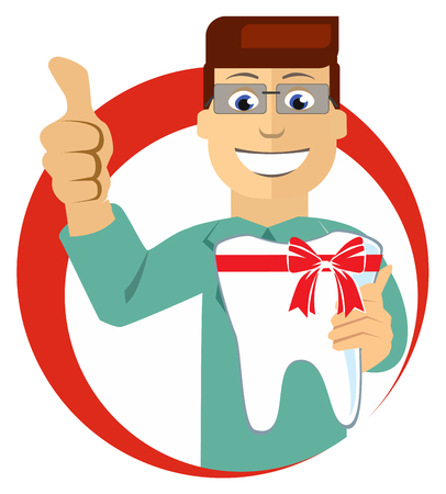a tooth are beautiful: Flat Vector Illustration:  dentist with beautiful tooth Illustration