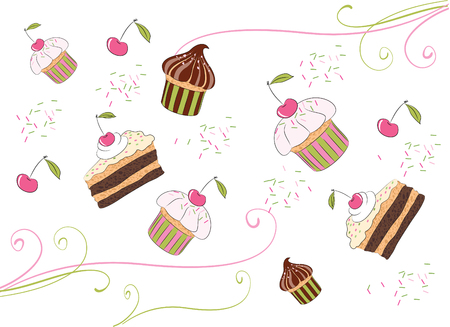 postal card: Illustrations of the chocolate cakes with cherry