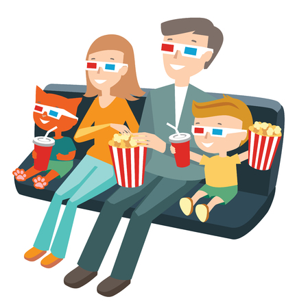 child sitting: Family Sitting in the Cinema and Watching a Movie. Colorful Vector Illustration
