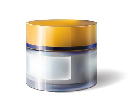 Ejemplo realista del vector del tarro de cristal poner crema facial aislado en el fondo blanco. Plantilla cosmética para el diseño del cartel de venta