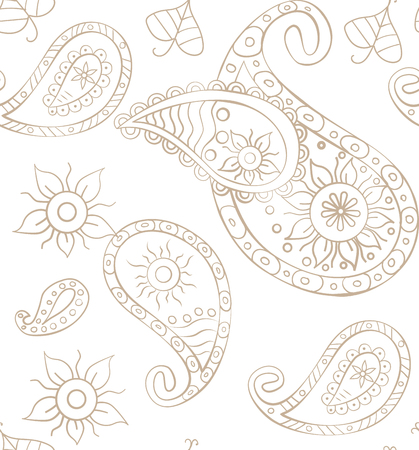 Vector seamless paisley background for design Illustration
