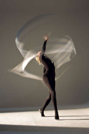 Rhythmic gymnast performing