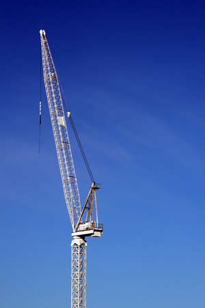 A large white construction crane. Stock Photo