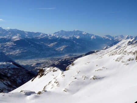 Looking across Valais from high in the alps of southern switzerland.