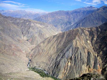 View across Colca Del Canyon in a remote area of Peru.                                Stock Photo