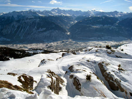 The valley of Valais from high in the alps of southern switzerland  Stock Photo