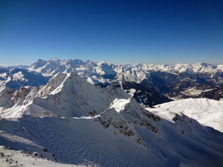 Looking across the alps from high in southern switzerland.                                Stock Photo
