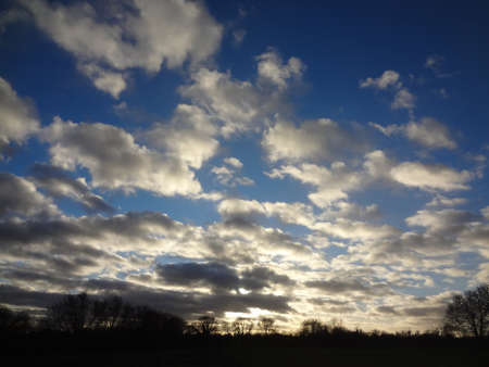 A vivid blue and white rural cloudscape in England                                 Stock Photo