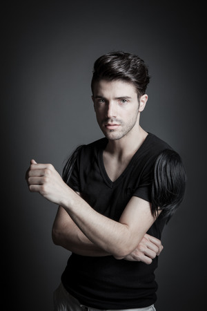 light hair: attractive male fashion model in studio 01