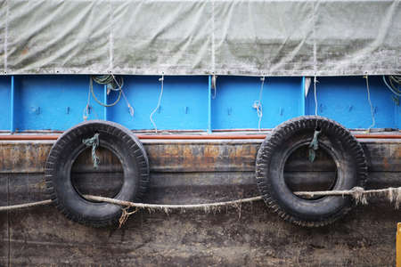 the mooring: Rubber bumpers on the mooring