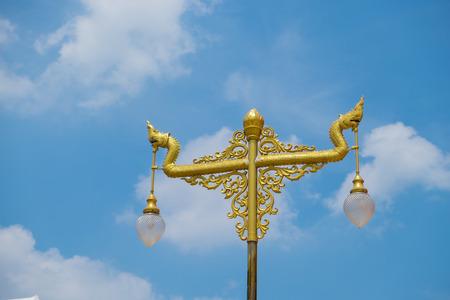 nakhon pathom: Nagas lantern in gold color at Wat Phra Pathom Chedi in Nakhon Pathom Thailand.