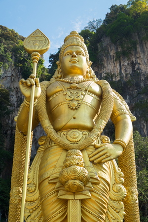 deity: Statue of Murugan, a Hindu deity is located at entrance of Batu Caves in Kuala Lumpur, Malaysia.