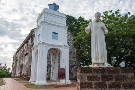 st  francis: Statue of St. Francis Xavier in front of the ruins of St. Pauls Church in Malacca, Malaysia.