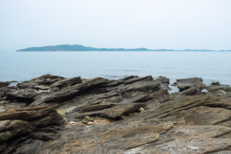 samet: Rock on sea coastline with seascape view at Mu Ko Samet National Park in the Gulf of Thailand.