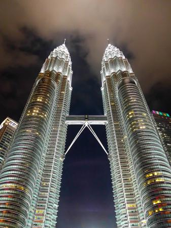 KUALA LUMPUR, MALAYSIA - FEBRUARY 29: Petronas twin towers in night scene on February 29, 2016 in Kuala Lumpur, Malaysia. Night time of twin towers.