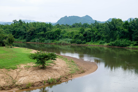 Curve of Kwai Noi river near the Death Railway in Kanchanaburi province, Thailand. Stock Photo