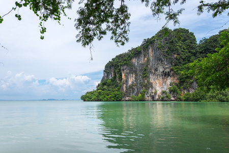 aonang: Limestone mountain at east side of Railay beach in Krabi province, Thailand.
