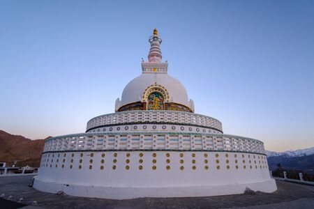 Shanti Stupa is a white-domed stupa (chorten) on a hilltop located in Leh, Ladakh, Jammu and Kashmir, India.