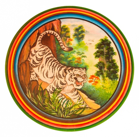 Tiger painting chinese style on wall