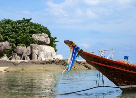 The long-tail boat on the sea Stock Photo