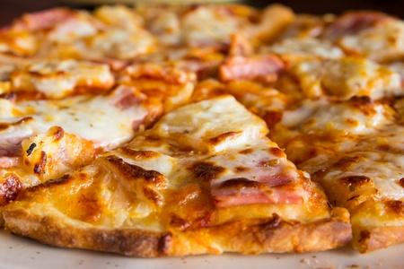 Closeup pizza hawaiian